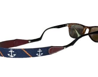 Anchor and Orange Stripe on Navy Needlepoint Sunglass Straps