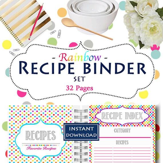 Recipe Binder Instant Download EDITABLE Organization