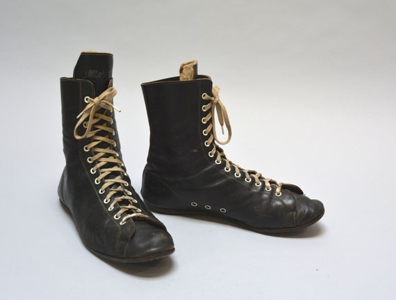 40s boxing boot vintage forties black leather s