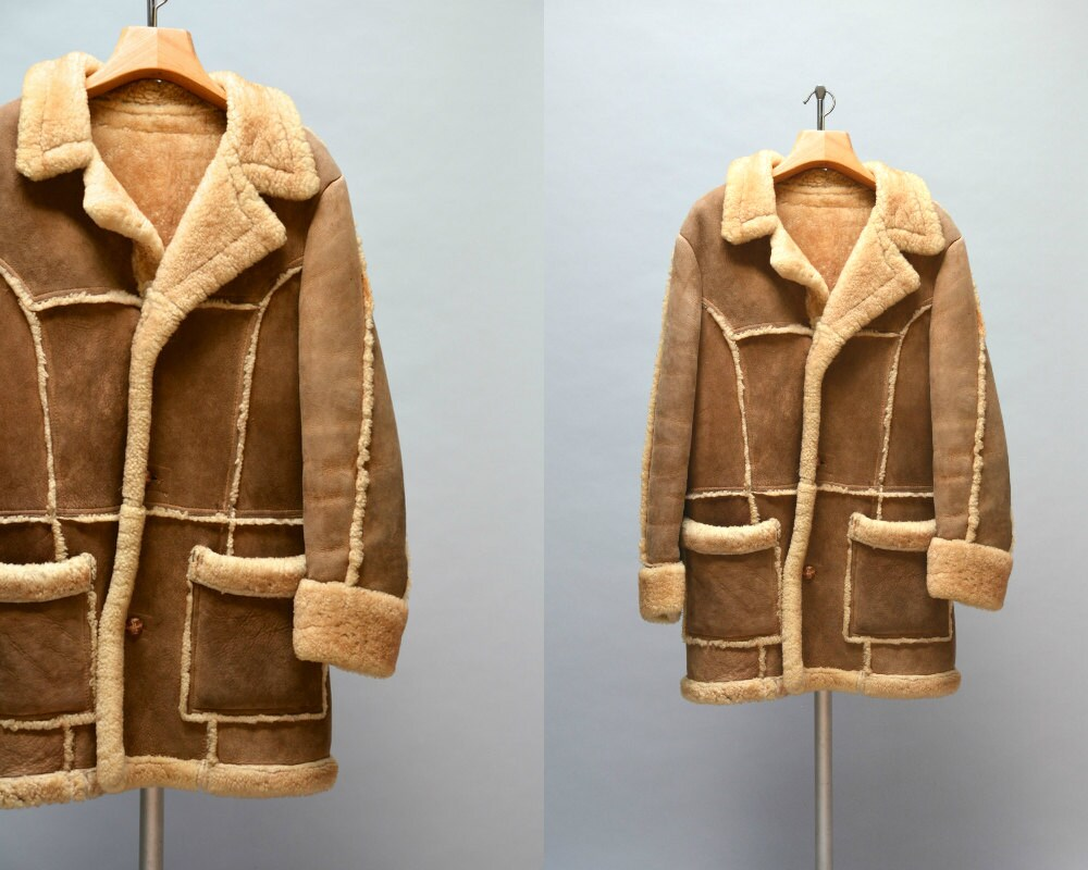 70s Sheepskin Jacket Vintage Seventies Men's Tan