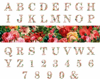 FLORAL LETTERS & NUMBERS  - Digital Flower fonts Clip Art Graphics for Personal or Commercial Use