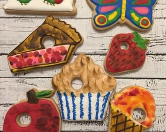 Hungry Caterpillar custom decorated cookies - 1 Dozen