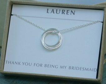 Bridesmaid gift, 5 linked circle necklace, 50th birthday gift, bridesmaid necklace, family of 5 bridesmaids gifts - Lilia