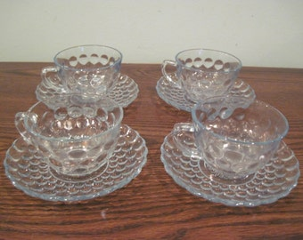 Fostoria light blue bubble glass teacups and saucer set of 4