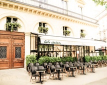 "Paris Art, Street Photography, Paris Cafe, French Building, Kitchen Art, White, Green, Fine Art Print, French Art - ""Cafe italien"""