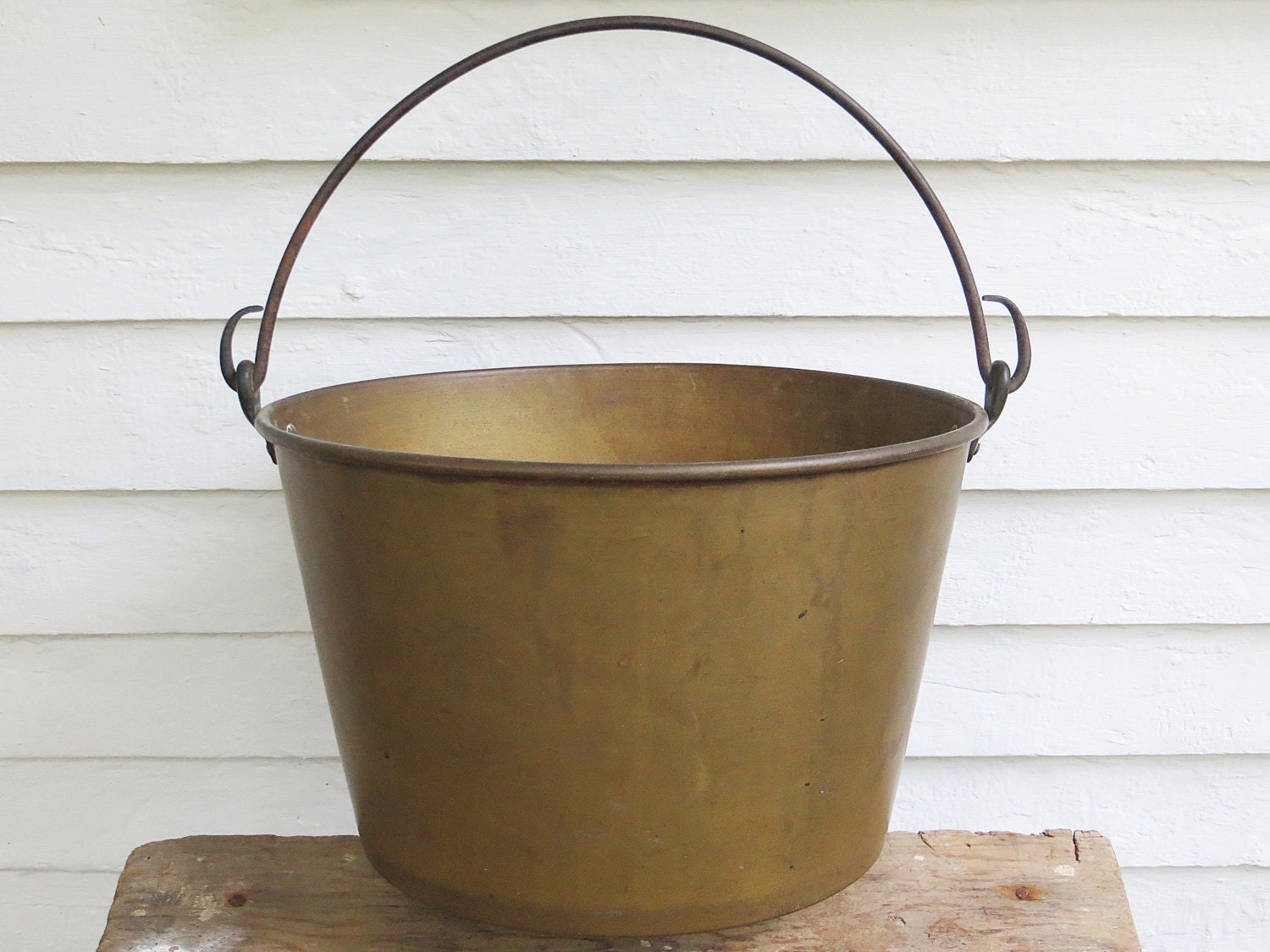 Antique 14 Brass Bucket With Hand Wrought Iron Handle