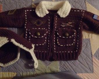 PDF Digital Child's Bomber Jacket & Hat Crochet PATTERN for Sizes 1T-2T