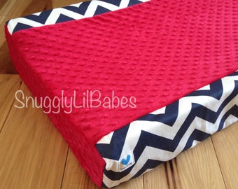 Navy chevron, red minky dot changing pad cover