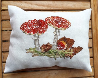 Autumn Decor Toadstool Woodland Decor Pillow Gingham Fabric