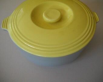 Vintage Hall China Company Halls  GE Refrigerator Covered Bowl Covered Server Yellow & Grey
