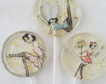 3 Salt water taffy flavored handpainted vintage circus belle glitter lollipops