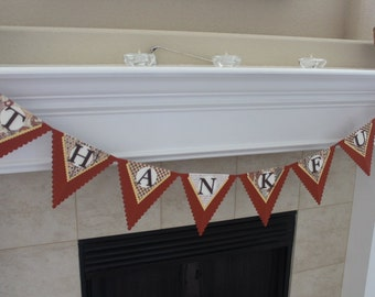 Thanksgiving Banner, Fall Holiday banner, Thankful banner, Pennant banner