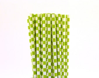 Lime Green Checkerboard Paper Straws-Lime Green Straws-Farm Birthday Party Straws-Checkered Paper Straws-Neon Paper Straws-Cake Pop Sticks