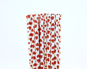 Red Small and Big Heart Paper Straws-Red Paper Straws-Valentine's Day Straws-Queen of Hearts Birthday-Heart Paper Straws-Cake Pop Sticks