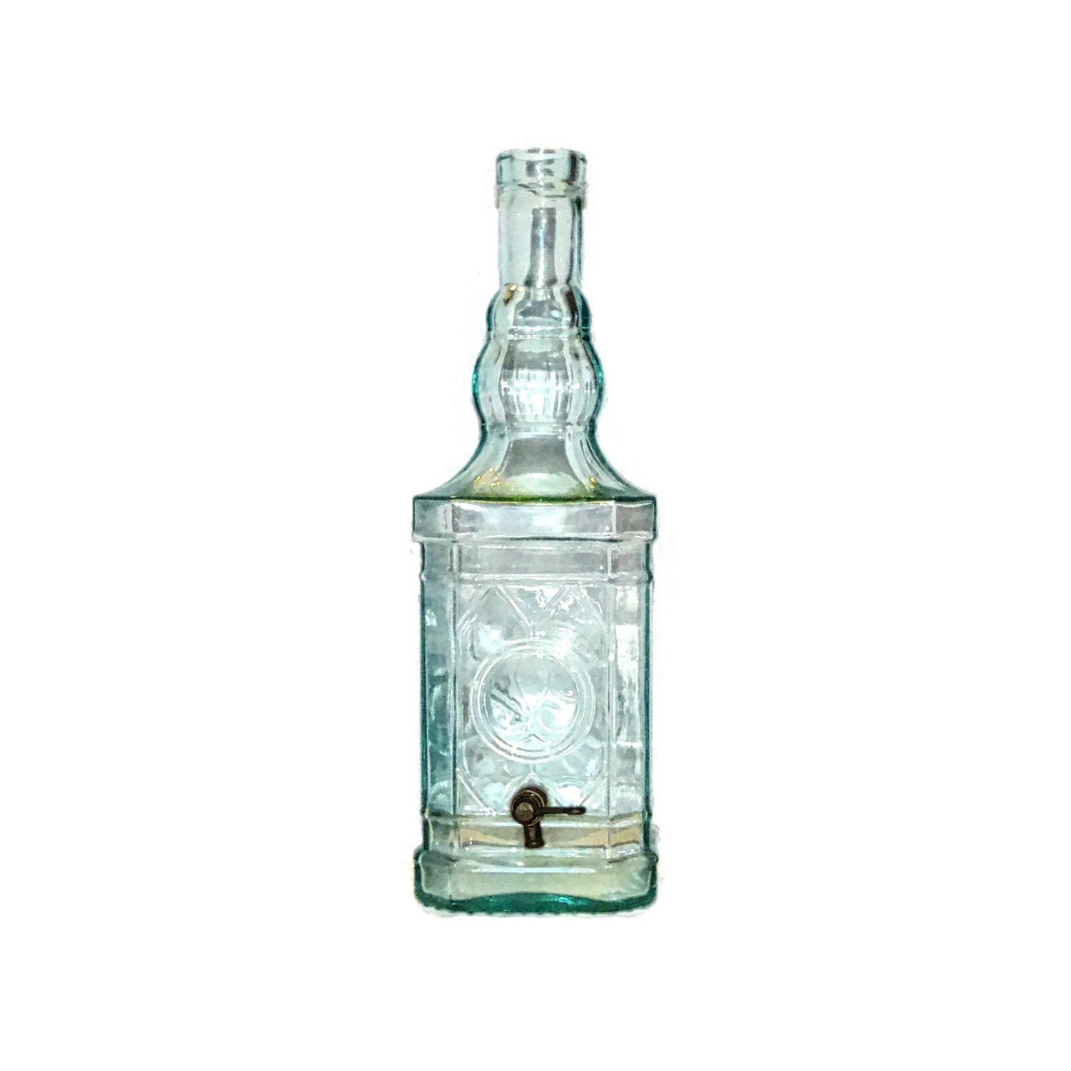 Vintage glass drink dispenser with spigot