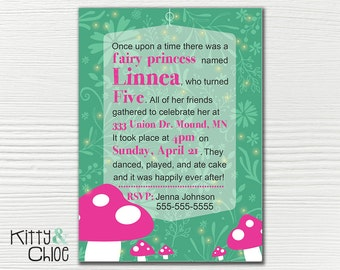 Princess Fairy Party Invitation, 5x7 or 4x6