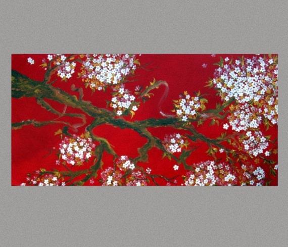 White Cherry Blossom Painting SALE Red Gold Sakura painting