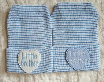 Little Brother Newborn Hospital Hat, Hospital Newborn Beanie, Newborn hat, Newborn Boy hat.