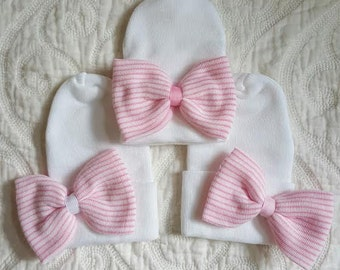 New Improved Round Top!!  White Hospital Newborn Beanie with Pink&White Newborn's First Bow! Newborn Hat, Baby Girl Hospital Hat.