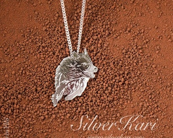 Working sheepdog, necklace with a pendant in sterling silver