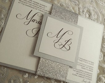 Glitter band wedding invitation suite with monogram accent