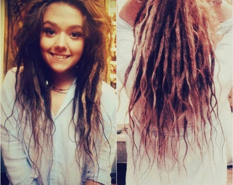 40 Real Human hair Dreadlocks Extensions with Long Loose Ends