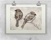 Original Etching TWO SPARROWS | Fine Art Etching - Bird Print - Bird Art - Sparrows Drawing | Watercolor Bird Illustration | Wall Art