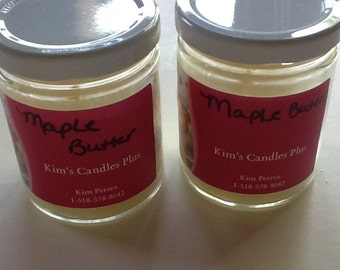 6 Oz Maple Butter scented soy candle in glass jar