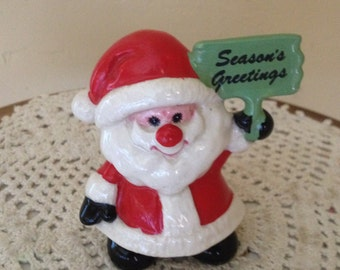 Vintage Santa Claus Figurine-Holding Seasons Greeting Sign Nice Condition-Enesco