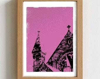 Ancient church art print - church wall art, classic architecture art, edinburgh art gift