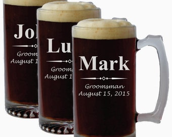 Personalized 25 oz Beer Mug - Groomsmen gift, Father's Day Gift, Engraved Beer Mug, Groomsmen Beer mug, Beet stein, etched beer glasses,