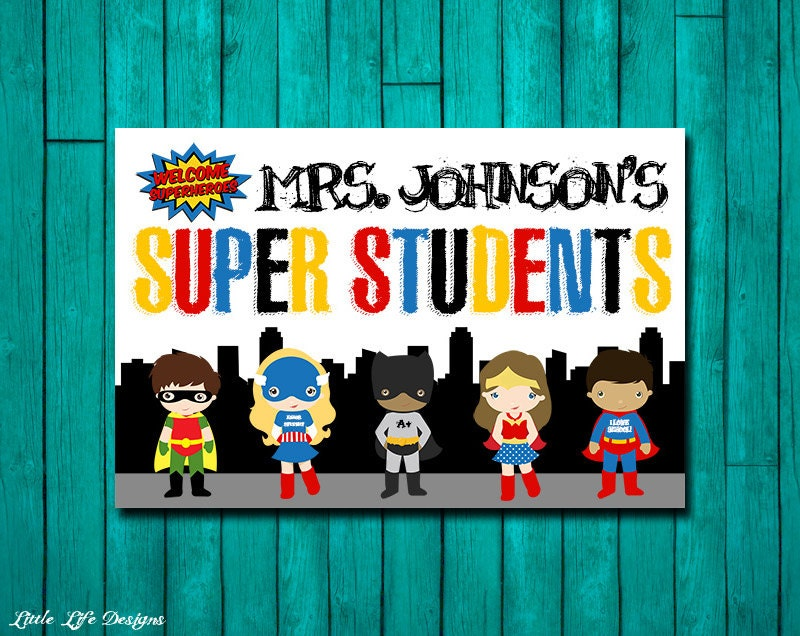 Classroom Decor Gifts ~ Superhero classroom decor gift for teacher