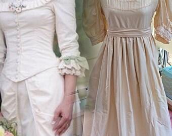 Rare vintage laura ashley victorian belle bridal gown ivory peach cotton wales UK 10 EUR 34-36 USA 6-8