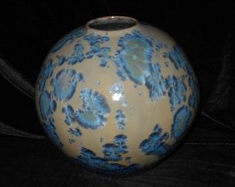 "Crystalline Glaze Porcelain  VASE, Fine Art Pottery,  9"" X 9"", Yellow, White, Blue, Blue Violet Crystals, FREE SHIPPING"