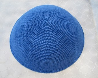 Light Blue Kippah. Handmade Crochet Kippah. Hand knitting Yarmulke. Light Blue Yarn of Cotton. Plain Light Blue Kippah. Everyday Yarmulke.