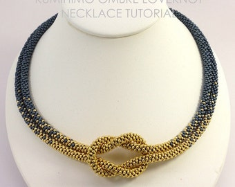 KUMIHIMO NECKLACE TUTORIAL Pattern Ombre Love Knot   Pdf Digital File