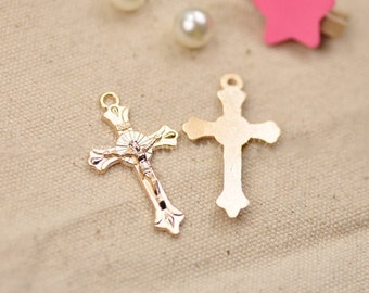 DIY  jewelry 20pcs antiqued gold or silver cross charm pendant  39x23mm