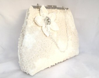 Large Bridal Clutch Ivory Lace, Silk, Wedding Gift, Lace Bridal Clutch, Lace Wedding Bag, Formal Clutch, Vintage wedding