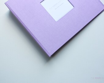 Free shipping. MODERN Baby Book // Deep Lavender Cover // baby book. baby keepsake. toddler keepsake. baby shower present. memory book.