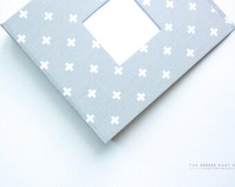 Free Shipping* Grey and White Swiss Cross Modern Baby Book. baby keepsake. toddler keepsake. baby shower present. memory book.
