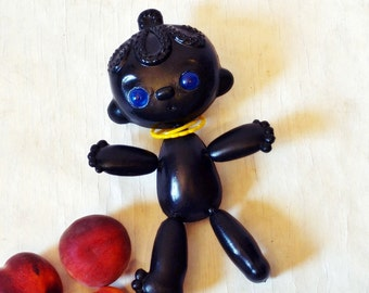 Cute Big Soviet Vintage Plastic Doll Toy - Ethnic - African American - Black - With Bangles