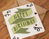 Happy Birthday Banner Green Card - perfect birthday card for a best friend, family member or partner. Blank inside. Free UK shipping.