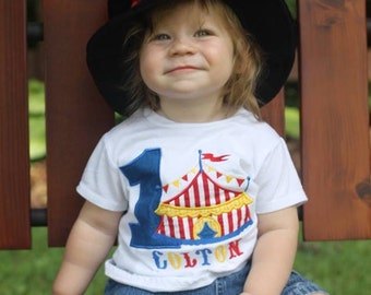 Boy Circus Under the BIG tent shirt.  Perfect for a trip to the circus or a Circus party bodysuit