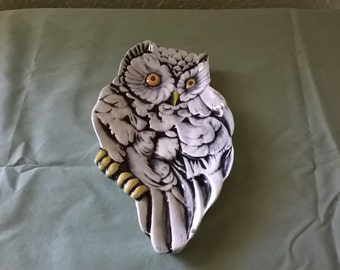 Owl Spoon Rest, Hand-Painted White with Black Antiquing, Wildlife Animal, Jewelry Holder, Food-safe