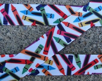 """3 yards Crayon Ribbon 7/8"""" School ribbon Printed Ribbon hair bow ribbon hair bow supplies"""