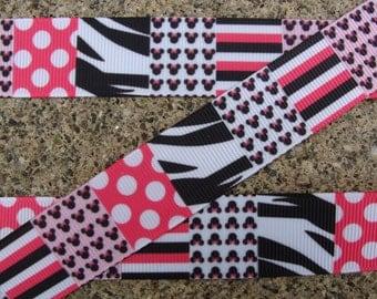 "3 yards Minnie Mouse Heads Grosgrain Printed Ribbon Zebra ribbon 7/8"" Disney ribbon hair bow ribbon"