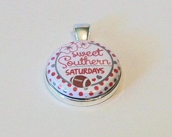 Unique Crimson and White Polka Dot Sweet Southern Saturdays Football Round Silver Pendant