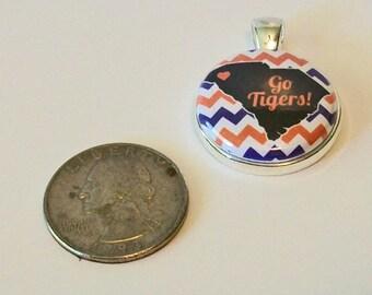 South Carolina State Silhouette Orange and Purple Go Tigers Round Silver Pendant