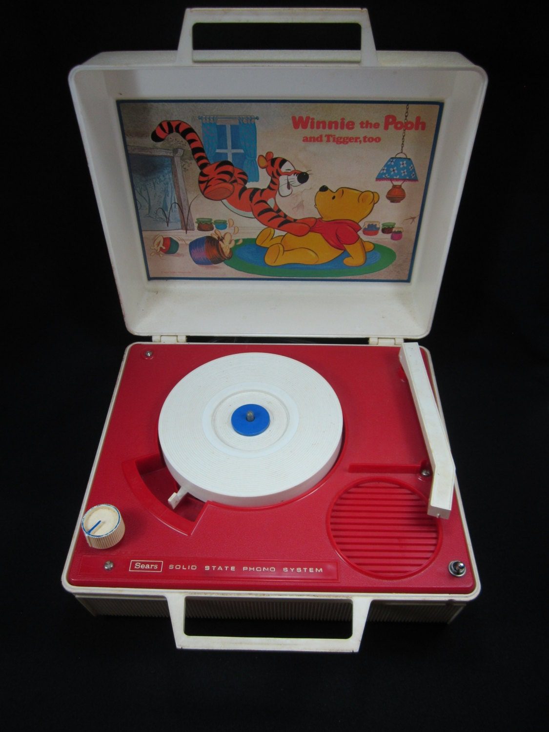 winnie the pooh record player working vintage record player by. Black Bedroom Furniture Sets. Home Design Ideas