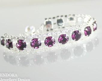 Crystal bracelet,swarovski bracelet,swarovski amethyst bracelet,purple crystal bracelet,amethyst bracelet,purple wedding jewelry,amethyst